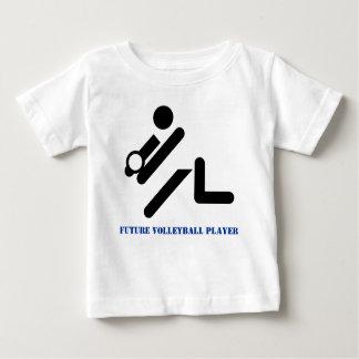 T-shirt Pour Bébé Futur noir de joueur de volleyball, coutume bleue