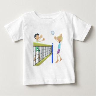 T-shirt Pour Bébé Hommes de bande dessinée jouant au volleyball