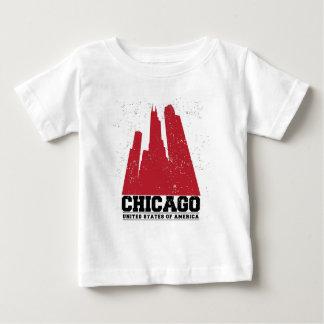 T-shirt Pour Bébé Horizon rouge de ville de Chicago, l'Illinois |