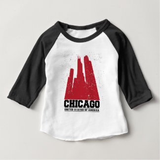 T-shirt Pour Bébé Horizon rouge de ville de Chicago, l'Illinois |