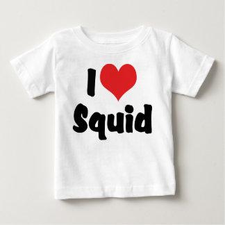 T-shirt Pour Bébé J'aime le calmar de coeur