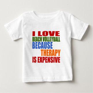 T-shirt Pour Bébé J'aime le volleyball de plage puisque la thérapie