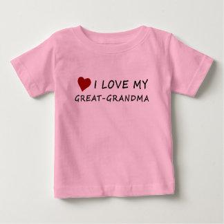 T-shirt Pour Bébé J'aime ma Grand-Grand-maman avec le coeur