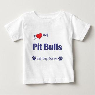 T-shirt Pour Bébé J'aime mes pitbulls (les chiens multiples)
