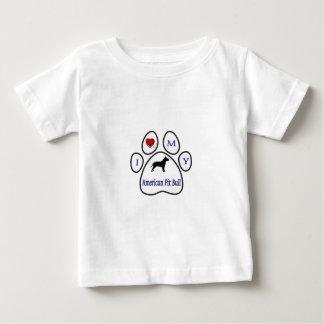 T-shirt Pour Bébé J'aime mon empreinte de patte de pitbull