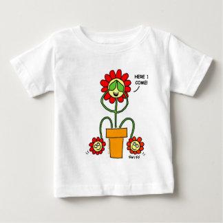 T-shirt Pour Bébé La bande dessinée de fleur de cache-cache jumelle