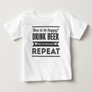T-shirt Pour Bébé La vie heureuse de chien de bouledogue de boissons
