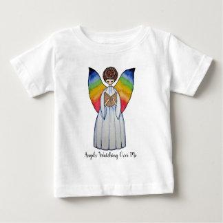 T-shirt Pour Bébé L'ange d'aquarelle avec l'arc-en-ciel s'envole