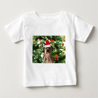 T-shirt Pour Bébé L'arbre de Noël de chien de Pitbull ornemente le