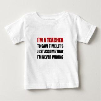 T-shirt Pour Bébé Le professeur épargnent le temps jamais faux