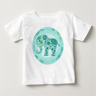 T-shirt Pour Bébé L'éléphant fleurit Teal
