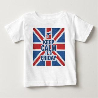 """T-shirt Pour Bébé """"Maintenez calme il est vendredi"""" drôle détendent"""