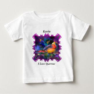 T-shirt Pour Bébé Moineau coloré d'arc-en-ciel