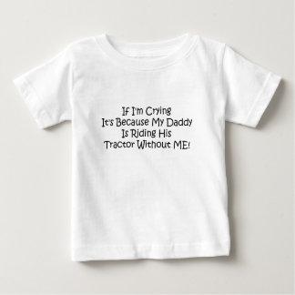 T-shirt Pour Bébé Mon papa conduit son tracteur sans moi