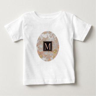 T-shirt Pour Bébé Monogramme rose de remous de marbre d'or de Faux