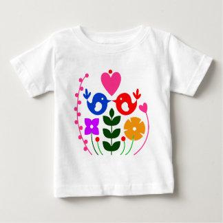 T-shirt Pour Bébé Oiseau lunatique et fleurs