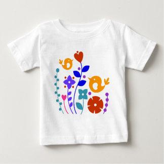T-shirt Pour Bébé Oiseaux lunatiques et fleurs
