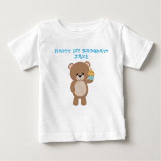 T-shirt Pour Bébé Ours d'anniversaire avec le gâteau de tasse