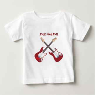 T-shirt Pour Bébé Rock avec deux guitares électriques rouges