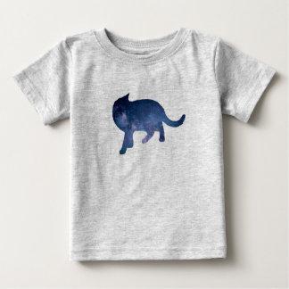 T-shirt Pour Bébé Silhouette étoilée de chat de galaxie de ciel,