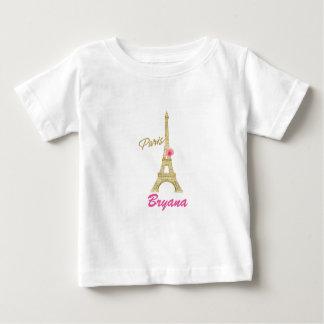 T-shirt Pour Bébé Tour Eiffel Paris d'or et coutume de rose de rose