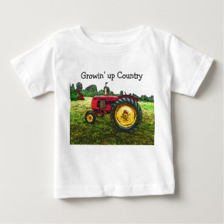 T-shirt Pour Bébé Tracteur rouge et jaune de ferme