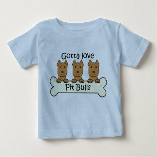 T-shirt Pour Bébé Trois Pitbulls