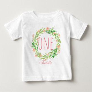 T-shirt Pour Bébé Un bébé an Wreath-6 floral d'anniversaire