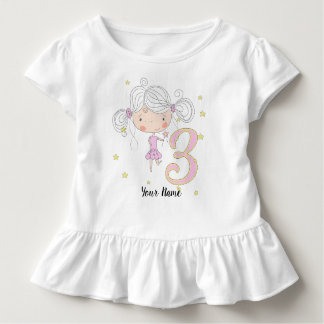 T-shirt Pour Les Tous Petits 3ème Princesse rose d'anniversaire