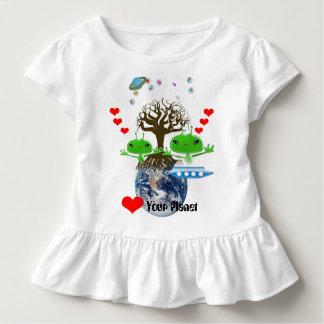 T-shirt Pour Les Tous Petits Aliens verts mignons d'espace extra-atmosphérique