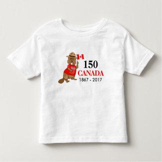 T-shirt Pour Les Tous Petits Anniversaire fièrement canadien du castor 150