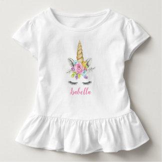 T-shirt Pour Les Tous Petits Anniversaire floral de licorne d'aquarelle