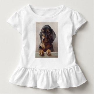 T-shirt Pour Les Tous Petits Art de chiot de teckel