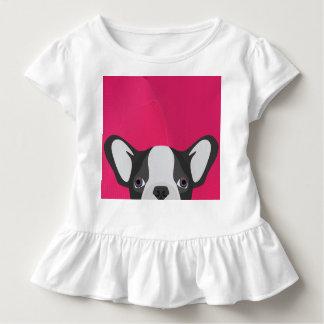T-shirt Pour Les Tous Petits Bouledogue français d'illustration avec l'arrière