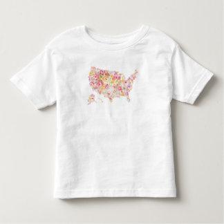 T-shirt Pour Les Tous Petits Carte florale des Etats-Unis