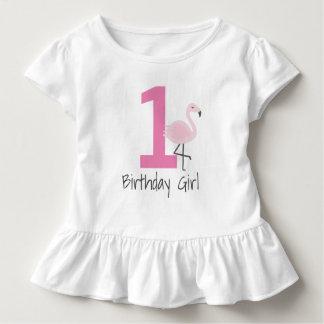 T-shirt Pour Les Tous Petits Chemise d'anniversaire de nombre de flamant (peut