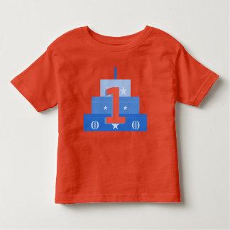 T-shirt Pour Les Tous Petits Chemise de garçon d'anniversaire, bleue et rouge