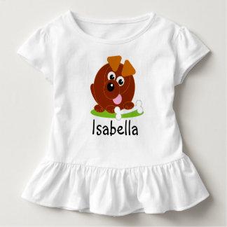T-shirt Pour Les Tous Petits Chiot mignon de brun de style de bande dessinée