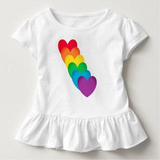 T-shirt Pour Les Tous Petits Coeurs d'arc-en-ciel formés
