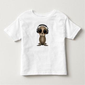 T-shirt Pour Les Tous Petits Écouteurs de port mignons d'otarie de bébé