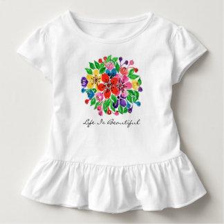 T-shirt Pour Les Tous Petits Fleurs d'arc-en-ciel d'aquarelle