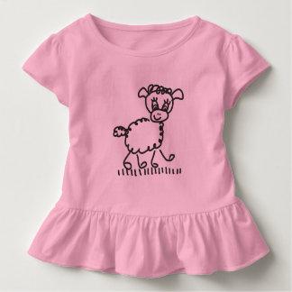 T-shirt Pour Les Tous Petits Funny Little Sheep - ruches Shirt de couleur