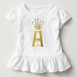 T-shirt Pour Les Tous Petits Initiale d'or un dessus de ruche de bébé de