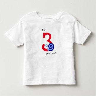 """T-shirt Pour Les Tous Petits """"Je suis 3 années !"""" + Escargot bleu heureux"""