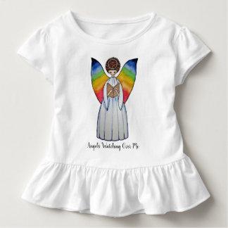 T-shirt Pour Les Tous Petits L'ange d'aquarelle avec l'arc-en-ciel s'envole