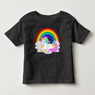 T-shirt Pour Les Tous Petits Licorne blanche sur le nuage avec la pièce en t