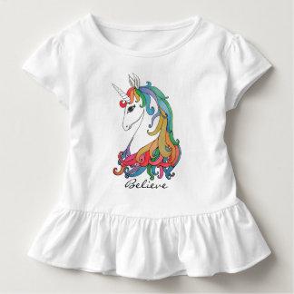 T-shirt Pour Les Tous Petits Licorne mignonne d'arc-en-ciel d'aquarelle