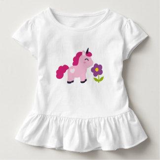 T-shirt Pour Les Tous Petits Licorne rose mignonne avec une fleur