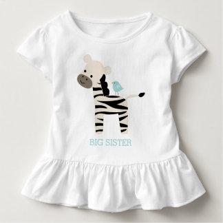 T-shirt Pour Les Tous Petits Message mignon de coutume de zèbre et d'oiseau