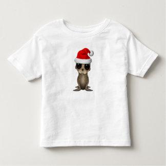 T-shirt Pour Les Tous Petits Otarie de bébé utilisant un casquette de Père Noël